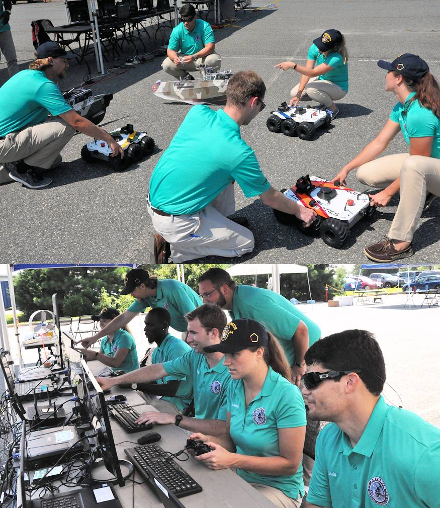 August 7, 2018 – The Naval Surface Warfare Center Dahlgren Division (NSWCDD) Sly Fox Mission 23 team, consisting of STEM college graduates, in action while demonstrating ARTEMIS - Autonomous Remote Tactical Engagement Multi-Domain Intelligence Swarm – capabilities. (Image created by USA Patriotism! from photos by John Joyce, Naval Surface Warfare Center Dahlgren Division)