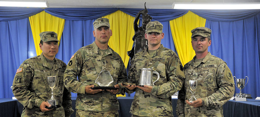 June 26, 2018 - The National Guard All Guard International Combat Team won five individual trophies during the 2018 Army Reserve Operational Shooting Competition at Bisley Ranges, Pirbright, England. Awards from LEFT to RIGHT and winner name: Fortuna Cup (highest individual aggregate on the Fortuna winning team) - 1st Lt. Miller, Pistol Close Quarter Combat (Contributes to Fortuna Trophy) – Sgt. 1st Class Deugan, Fire Team Combat Snap Shooting Assessment – Team award, Advance to Contact (Contributes to Fortuna Trophy)- 1st Lt. Miller, Urban Contact Assessment (Contributes to Fortuna Trophy) – Staff Sgt. Richey (Not shown: Fleeting Encounter – Spc. McCombs) -- (National Guard photo by U.S. Army Maj. Theresa Austin)