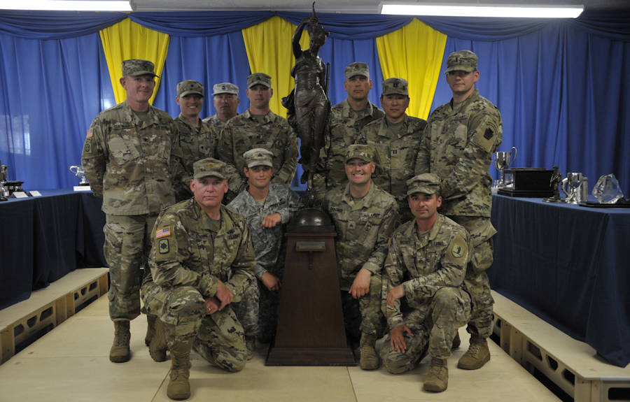 June 26, 2018 - The All Guard International Combat Team pose for a photo with the Fortuna Trophy at the end of the Army Reserve Operational Shooting Competition Prize Giving Ceremony. The team achieved their goal winning this trophy, which is a collective high score of four events and is a long standing competition between the British Reserve and the U.S. National Guard. LEFT to RIGHT: FRONT- Maj. David Stapp, Sgt. Maxium Nickerson, Sgt. Tyler Goldade, Staff Sgt. Michael Richey. BACK- Col. Marty Curtright, Spc. Jeremy McCombs, Master Sgt. Greg Neiderhiser, Staff Sgt. Brandon Hornung, Sgt. 1st Class Paul Deugan, Capt. Robert Lee, 1st Lt. Garrett Miller. (National Guard photo by U.S. Army Maj. Theresa Austin)
