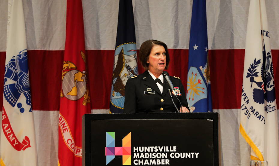 Maj. Gen. Sheryl Gordon, adjutant general of the Alabama National Guard, commends the Huntsville/Madison County community for its annual recognition of the military during Armed Forces Celebration Week on June 27, 2018. She was the keynote speaker at a Salute Luncheon. (U.S. Army photo by Kari Hawkins)