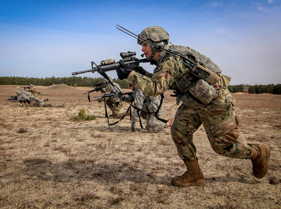 New Jersey Army National Guard Soldiers from Charlie Company, 1st Battalion, 114th Infantry (Air Assault) bound towards an objective during live-fire battle drills on Joint Base McGuire-Dix-Lakehurst, NJ on April 9, 2018. (U.S. Air National Guard photo by Master Sgt. Matt Hecht)