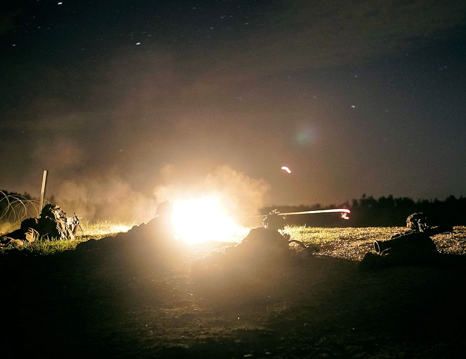 U.S. Army Paratroopers with the 1st Battalion, 503rd Infantry Regiment, 173rd Airborne Brigade fire down range during a night exercise at the 7th Army Training Command's Grafenwoehr Training Area, Germany, May 2, 2018. Exercise Fury is a combined arms live fire exercise that tests day and night live fire capabilities across multiple military specialties. (U.S. Army photo by Spc. Elliott Banks)