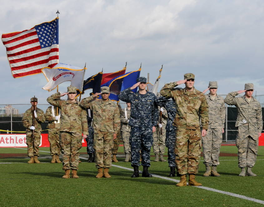 October 20, 2018 - ROTC cadets at Boston University serve as color guard during BU's 2018 Joint Service Pass-in-Review Ceremony. (U.S. Army photo by Sgt. Salvatore Ottaviano)