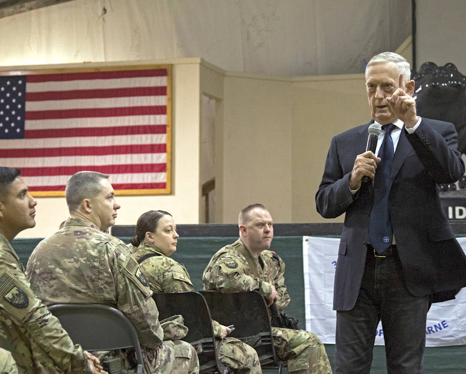 March 14, 2018 - Defense Secretary James Mattis talks to service members while visiting Bagram Airfield, Afghanistan. (U.S. Air Force photo by Jet Fabara)