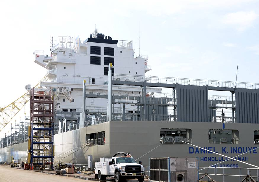 October 4, 2018 - The Daniel K. Inouye, an 850-foot container ship being constructed in Philadelphia Shipyards, is the largest container vessel constructed in the United States, and is one of many ships marine inspectors from Coast Guard Sector Delaware Bay work with to ensure maritime safety and security. During ship construction the Coast Guard works with the ship builder, shipping company and registrar in a unified effort to make the ship as safe as possible for operation. (U.S. Coast Guard photograph by Petty Officer 1st Class Seth Johnson)
