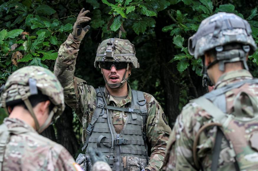 U.S. Army Reserve Sgt. Zachary Grabau of the 384th Military Police Battalion serves as a lethal warrior battle drill noncommissioned officer in charge during Operation Blue Shield at Fort McCoy Wisconsin on August 7, 2018. (U.S. Army Reserve photo by Jameson Crabtree)