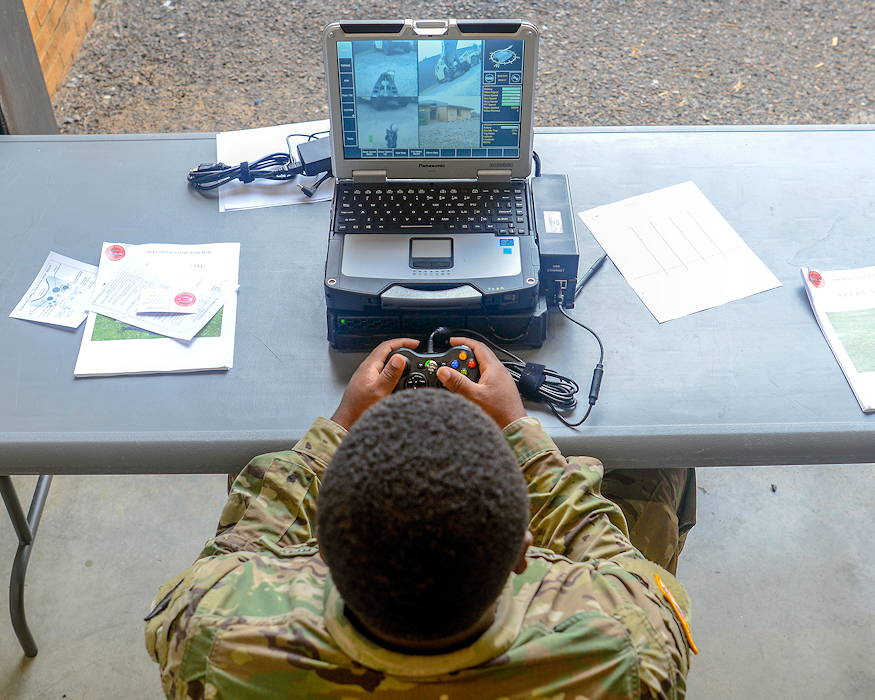 U.S. Army Spc. Elijah Clinton with the 1221st Engineer Clearance Company, South Carolina National Guard, conducts route clearance training using the Talon IV Reset robotic vehicle at their Armory in Graniteville, SC on October 17, 2018, which is being fielded to the unit as they prepare for an upcoming deployment in 2019. The Soldiers practiced skills-sets to find, target and dispose of improvised explosive devices and ordnance to keep routes clear and safe for civilian and military traffic in a combat environment. (U.S. Army National Guard photo by 2nd Lt. Jorge Intriago)