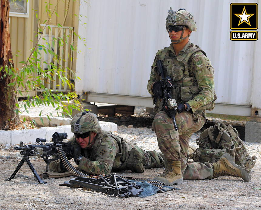 August 27, 2018 - U.S. Army soldiers from 2nd Battalion, 23rd Infantry Regiment with weapons ready as they provide security force (SECFOR) during a police advisory mission in Nangarhar Province, Afghanistan. (Image created by USA Patriotism! from U.S. Army photo by Spc. Markus Bowling)