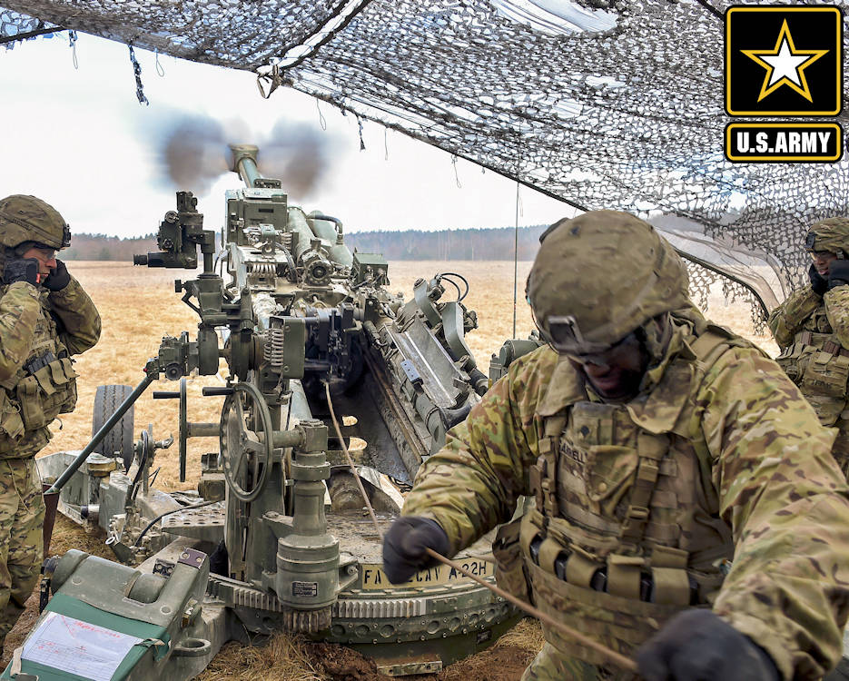 March 8, 2018 - U.S. Soldiers fire an M777 howitzer during Dynamic Front 18 at the Grafenwoehr Training Area, Germany. The soldiers are assigned to Field Artillery Regiment, 2nd Cavalry Regiment. The exercise, which includes about 3,700 participants from 26 nations, focuses on the interoperability of U.S. Army, joint service and allied nation artillery in a multinational environment. (Image created by USA Patriotism! from U.S. Army photo by Gertrud Zach)