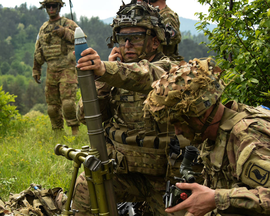 "May 10, 2018 - Sky Soldiers from 2nd Battalion ""The Rock,"" 503rd Infantry Regiment, 173rd Airborne Brigade rapidly engage mortar targets during Rock Sokol 18 in Slovenia. Paratroopers teamed with Slovenian army counterparts during a live fire exercise that strengthened interoperability and the lethality of our combined force. (U.S. Army photo by Capt. Joseph Legros, 173rd Airborne Brigade)"