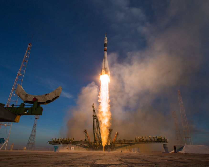 A Soyuz booster rocket launches the Soyuz MS-11 spacecraft from the Baikonur Cosmodrome in Kazakhstan on December 3, 2018, Baikonur time, carrying Expedition 58 Soyuz Commander Oleg Kononenko of Roscosmos, Flight Engineer Anne McClain of NASA, and Flight Engineer David Saint-Jacques of the Canadian Space Agency (CSA) into orbit to begin their six and a half month mission on the International Space Station. (NASA photo by Aubrey Gemignani)