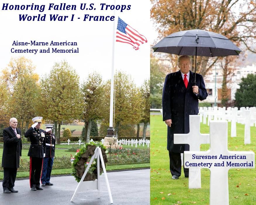 Left - White House Chief of Staff General john Kelly and Chairman of the Joint Chiefs of Staff General Joseph F. Dunford honor fallen U.S. Troops from World War I buried at the Aisne-Marne American Cemetery and Memorial in Belleau, France on November 10, 2018. Right - President Donald J. Trump honors fallen U.S. Troops from World War I buried at the American Commemoration Ceremony at Suresnes American Cemetery on Veterans Day / November 11, 2018. (Image created by USA Patriotism! from official White House photos by Shealah Craighead)