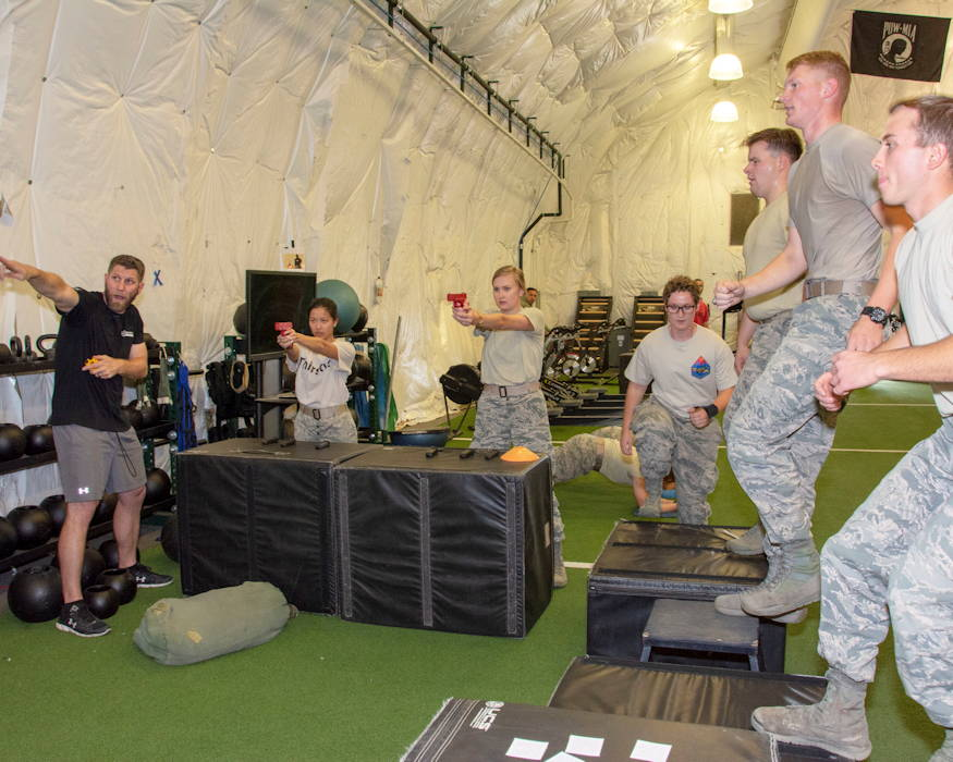 Junior and senior cadets of the United States Air Force Academy visits the 10th Special Forces Group (Airborne) compound Nov. 1, 2018 on Fort Carson, Colorado. The visit was apart of their Military Strategic Studies class and allowed them to gain a superior understanding of the Special Forces community and how to better operate in the joint service environment. (U.S. Army photo by Sgt. Tanisha Karn, 10th Special Forces Group)