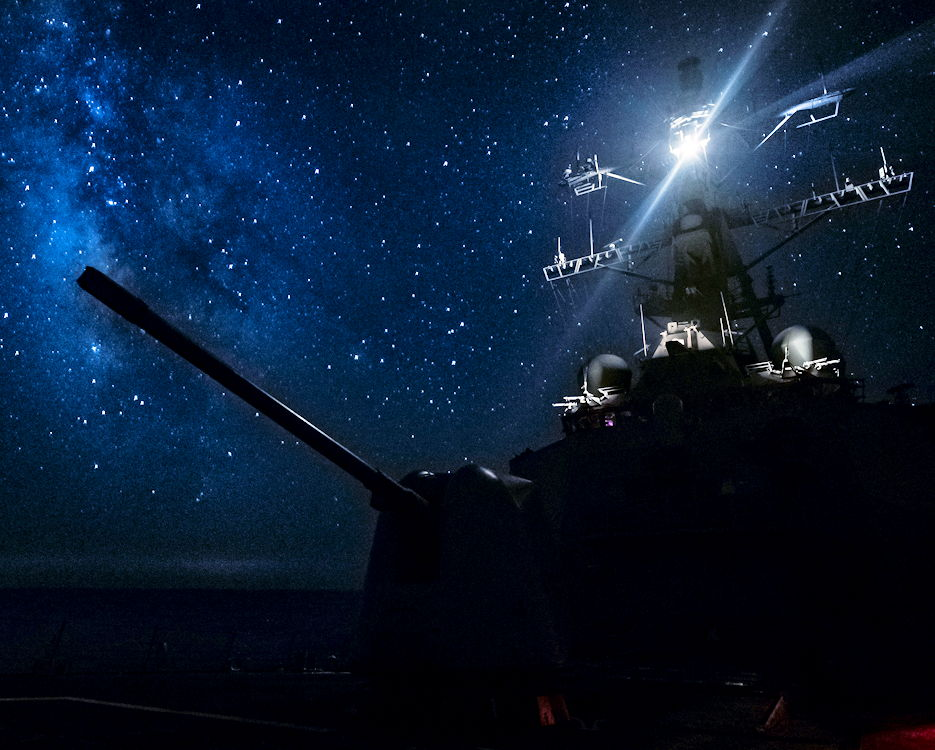 August 11, 2018 - The Arleigh Burke-class guided-missile destroyer USS Carney (DDG 64) transits the Mediterranean Sea during a patrol in the U.S. 6th Fleet area of operations in support of regional allies and partners, as well as, U.S. national security interests in Europe and Africa. (Image created by USA Patriotism! from U.S. Navy photo by Mass Communication Specialist 1st Class Ryan U. Kledzi)