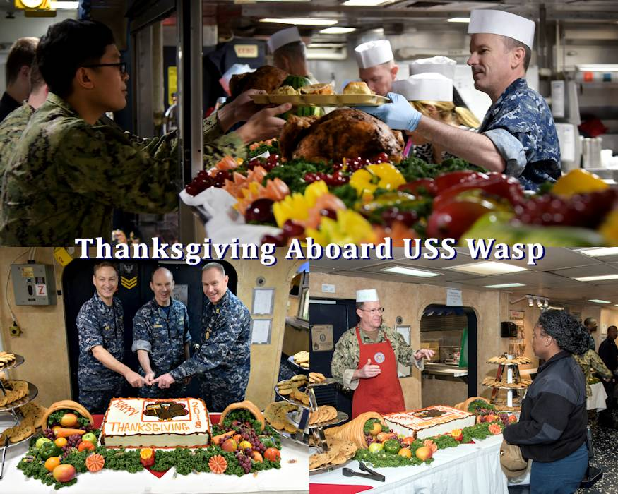 November 22, 2018 - Capt. Colby Howard, commanding officer of the amphibious assault ship USS Wasp (LHD 1) along with Capt. Chris Herr, executive officer,  Command Master Chief Rudy Johnson II, and Cmdr. Steven Stougard, a chaplain, celebrate Thanksgiving with Sailors aboard the ship. USS Wasp, flagship of Wasp Amphibious Ready Group, is forward deployed to Sasebo as part of the U.S. 7th Fleet. (Image created by USA Patriotism! from U.S. Navy photos by Mass Communication Specialist 1st Class Daniel Barker)