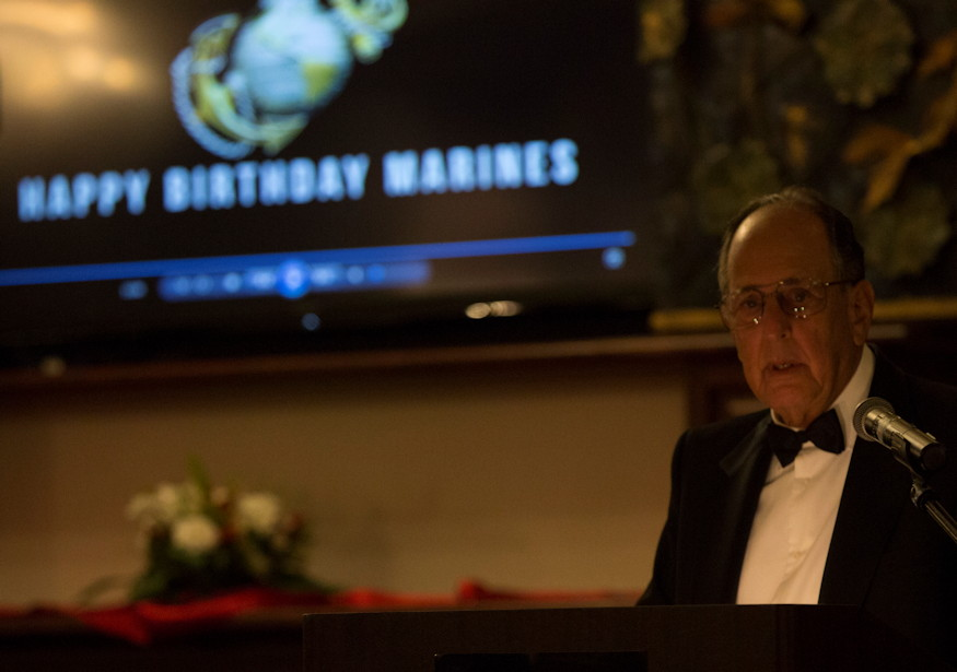 Retired U.S. Marine guest of honor Capt. Stan B. Solomon gives his speech at the 243rd Marine Corps birthday ball for 1st Marine Aircraft Wing on Marine Corps Base Camp Butler, Okinawa, Japan on November 8, 2018. Stan Solomon was a radar intercept operator with Marine Fighter Attack Squadron 323, 1st Marine Aircraft Wing. (U.S. Marine Corps photo by Sgt. Natalie Dillon)