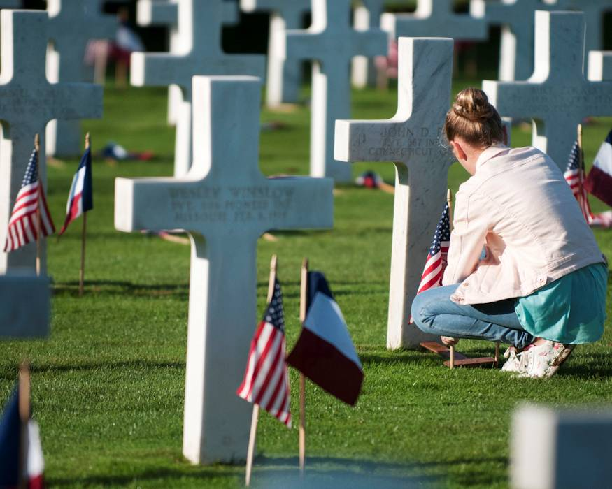 September 20, 2018 - French high school students place U.S. and French flags at the graves of 4,153 WWI American Soldiers buried in the St. Mihiel American Military Cemetery located in Thiaucourt, France. The local students placed the flags in preparation for the Centennial Commemoration of the Battle for Saint-Mihiel Salient on September 21, 2018. (U.S. Army photo by Sgt. 1st Class Corey Beal)