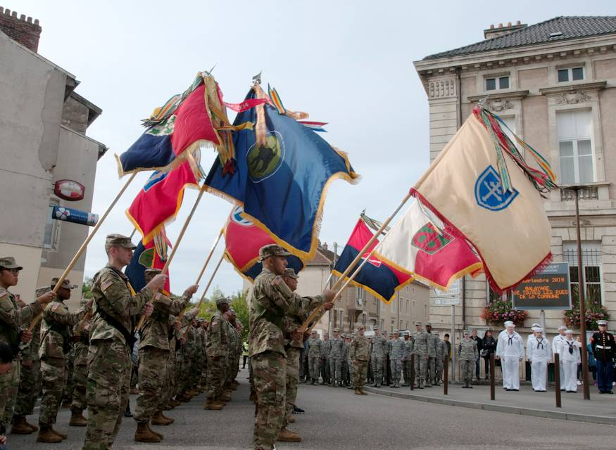 September 22, 2018 - U.S. Army Reserve Soldiers serve as Color Guard for their WWI legacy units during Centennial Commemorations in Thiaucourt, France. The commemorations were held to remember and honor the sacrifice made by service members who fought and helped tip the balance in favor of the Allies in decisive battles such as the Marne, St. Mihiel, and Meuse-Argonne. (U.S. Army photo by Sgt. 1st Class Corey Beal)