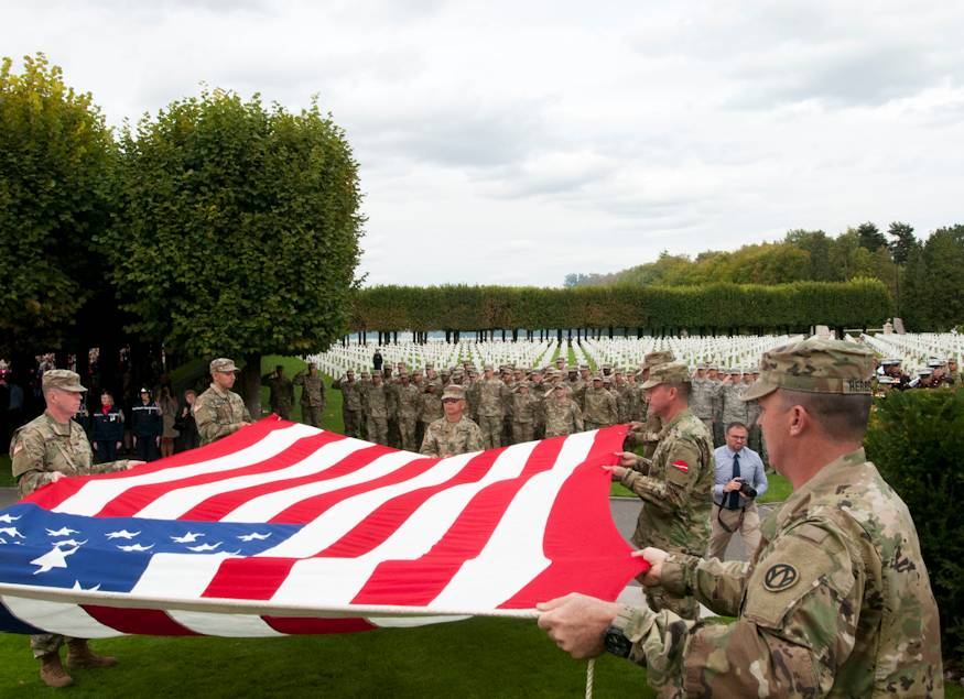 September 22, 2018 - U.S. Army Reserve Soldiers participate in a Flag Retirement Ceremony during the WWI Centennial Commemoration at the St. Mihiel American Military Cemetery located in Thiaucourt, France. The commemorations were held to remember and honor the sacrifice made by service members who fought and helped tip the balance in favor of the Allies in decisive battles such as the Marne, St. Mihiel, and Meuse-Argonne. (U.S. Army photo by Sgt. 1st Class Corey Beal)