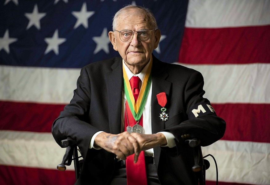 October 13, 2018 - Walter Pruiksma received The Military Police Regimental Association's Order of the Marechaussee in Silver, during an award ceremony in Mannasquan, New Jersey for the time he served as a Military Police Soldier during World War II. He volunteered to escort an elderly French woman on a 12-mile night journey to the hospital due to an injury she incurred nearly a week earlier when a German threw a grenade into her home. (U.S. Army Reserve photo by Sgt. Audrey Hayes)