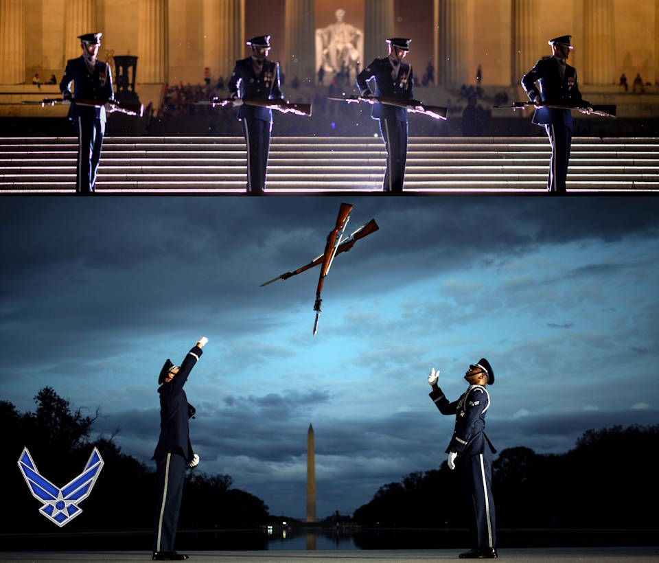 October 7, 2019 - Members of the United States Air Force Honor Guard conduct  training at the National Mall in front of the Lincoln Memorial with the Washington Monument in the background. The four-man team practiced a variety of movements and rifle tosses in front of both locals and tourists as the sun set on the mall. (Image created by USA Patriotism! from Air National Guard photo by Staff Sergeant Christopher Muncy)