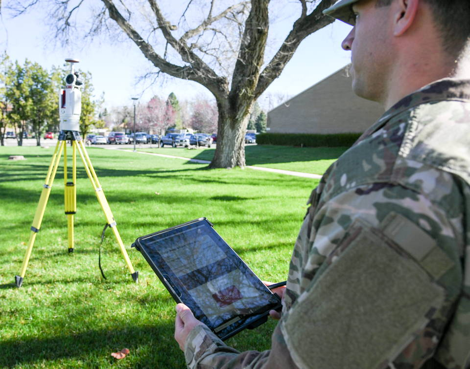 Air Force Staff Sgt. Ian Barone, 84th Radar Evaluation Squadron, demonstrates the faster and more accurate new 3-D terrestrial laser scanner on April 17, 2019 at Hill Air Force Base, Utah. (U.S. Air Force photo by Cynthia Griggs)