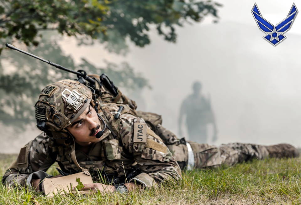 September 5, 2019 - U.S. Air Force Senior Airman Brandan Brown, 2nd Expeditionary Air Support Operations Squadron battalion Tactical Air Control Party, watches close air support provide exercise fire during exercise Ample Strike 2019, near Náměšť Air Base, Czech Republic. As a Joint Terminal Attack Controller, Brown is responsible for directing the action of combat aircraft engaged in CAS and other offensive air operations from a forward position. (Image created by USA Patriotism! from U.S. Air Force photo by Staff Sgt. Devin Nothstine)