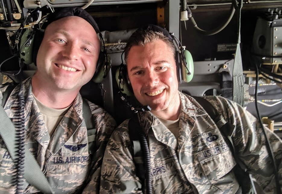 July 2, 2019 - 2nd. Lt. Madison Hayes, left, and 2nd. Lt. Tyler Harris, right, both Air Force Reserve Command chaplain candidates out of Robins Air Force Base, Georgia during an incentive flight aboard a CV-22 Osprey during the Celebrate America festival at Yokota Air Base, Japan. Hayes and Harris both spent time at Yokota as part of the Chaplain Candidate Intensive Internship program, a program designed to provide candidates with the experience needed to operate and succeed as chaplains in the U.S. Air Force. (Photo courtesy of U.S. Air Force 2nd. Lt. Tyler Harris)