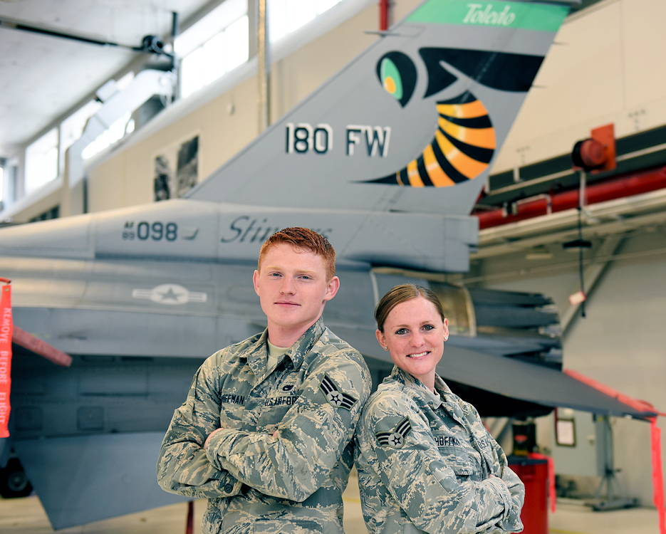 Senior Airman Arika Hoffman, a client systems technician assigned to the Ohio Air National Guard's 180th Fighter Wing, and her brother, Senior Airman Alex Hoffman, a tactical aircraft mechanic who is also assigned to the 180FW, began their military careers together in 2015. (Air National Guard photo by USAF Senior Master Sgt. Beth Holliker)