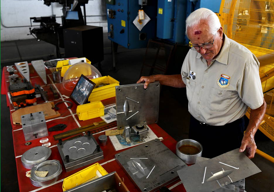 August 13 2019 - John Rumpf (91) works to restore pieces of aircraft to be exhibited for the National Museum of the United States Air Force at Wright-Patterson Air Force Base. (U.S. Air Force photo by Darrius Parker)