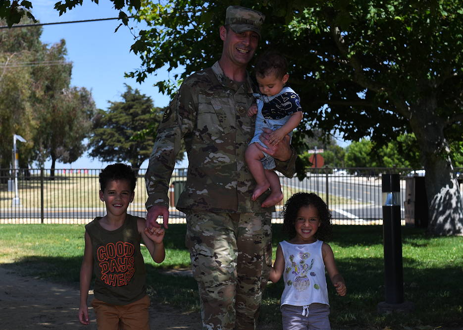 June 12, 2019 - U.S. Air Force Tech. Sgt. Joshua Cunico, 373rd Training Squadron military training unit flight chief, goes for a walk with his children, Joshua Jr., 5, and Rowan, 3, and Caius, 6 months old, , at Travis Air Force Base, California. Cunico and his family cherish Father's Day this year because they get to spend it together. Cunico has deployed twice since becoming a dad in 2014. (U.S. Air Force photo by Airman 1st Class Cameron Otte)