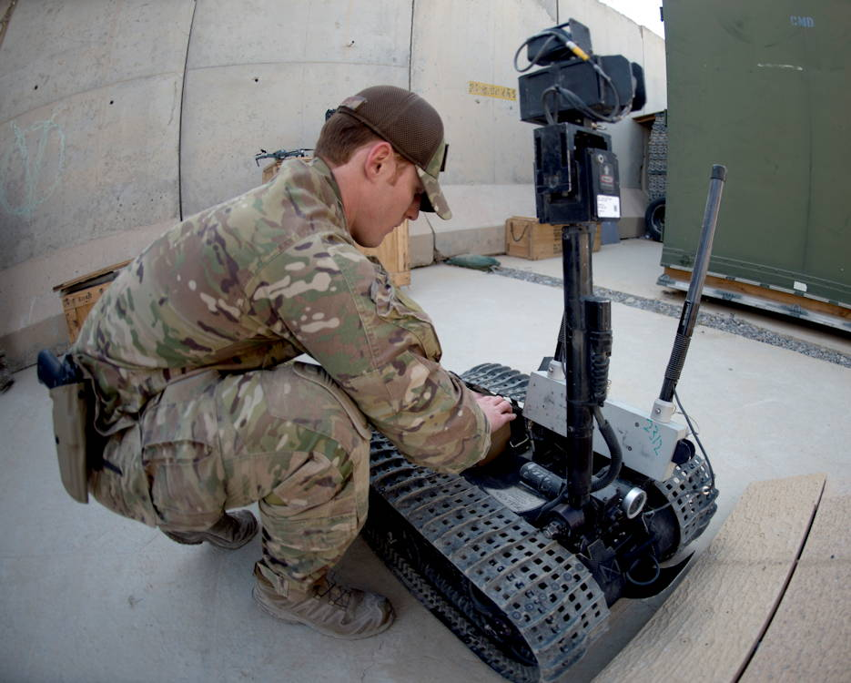 U.S. Air Force Senior Airman Joshua Holbrook, an explosive ordnance disposal technician assigned to the 753rd Ordnance Company displays their capability to use robots for reconnaissance at Bagram Airfield, Afghanistan on February 3, 2019. Holbrook is one of three Airmen assigned to work with an Army EOD team to support the Train Advise Assist Command-South mission. (U.S. Air Force photo by Senior Airman Rito Smith)