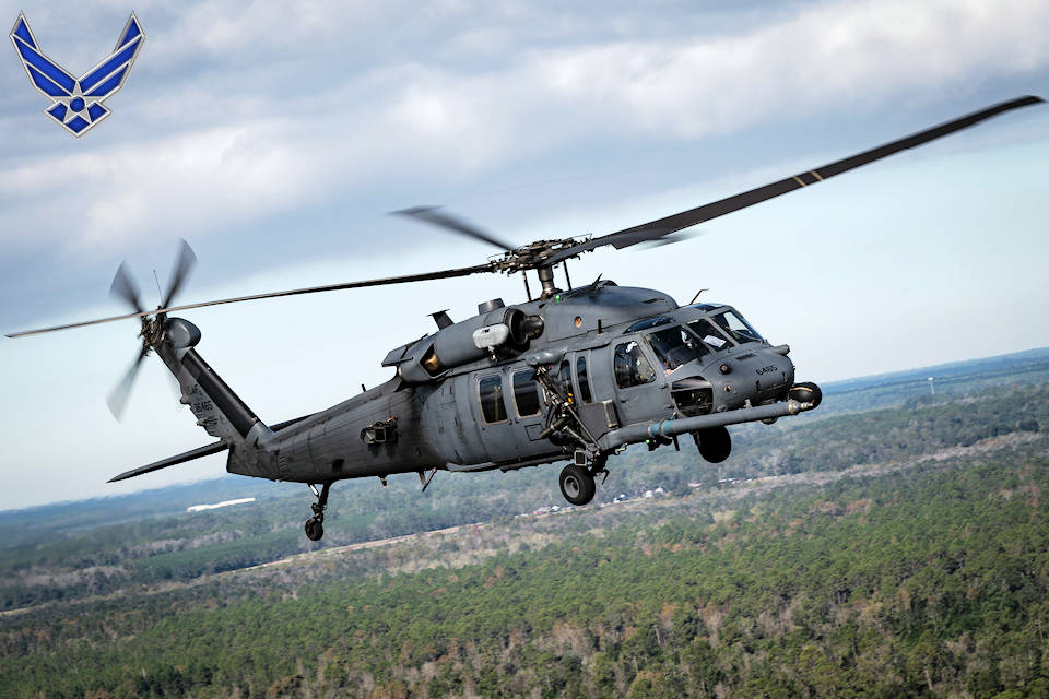 November 2, 2019 - An HH-60G Pave Hawk assigned to the 41st Rescue Squadron participates in the 2019 Thunder Over South Georgia Open House combat search and rescue demonstration at Moody Air Force Base, Georgia. The 41st Rescue Squadron is part of the 347th Rescue Group at Moody Air Force Base, Georgia. It operates HH-60 Pave Hawk aircraft conducting search and rescue missions. (Image created by USA Patriotism! from U.S. Air Force photo by Airman 1st Class Hayden Legg)