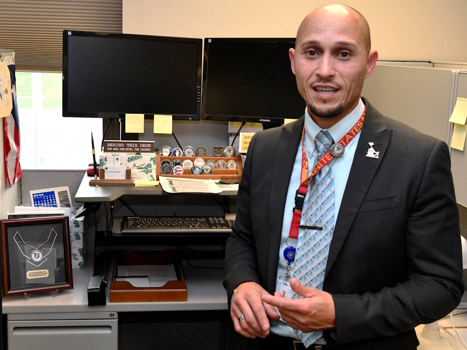"August 13, 2019 - Rey Febo, a recognized ""white hat"" hero, is a systems engineer at Air Force Materiel Command. AFMC has given him the ability to grow professionally and personally in the past 10 years of service. (U.S. Air Force photo by Darrius Parker, Materiel Command)"