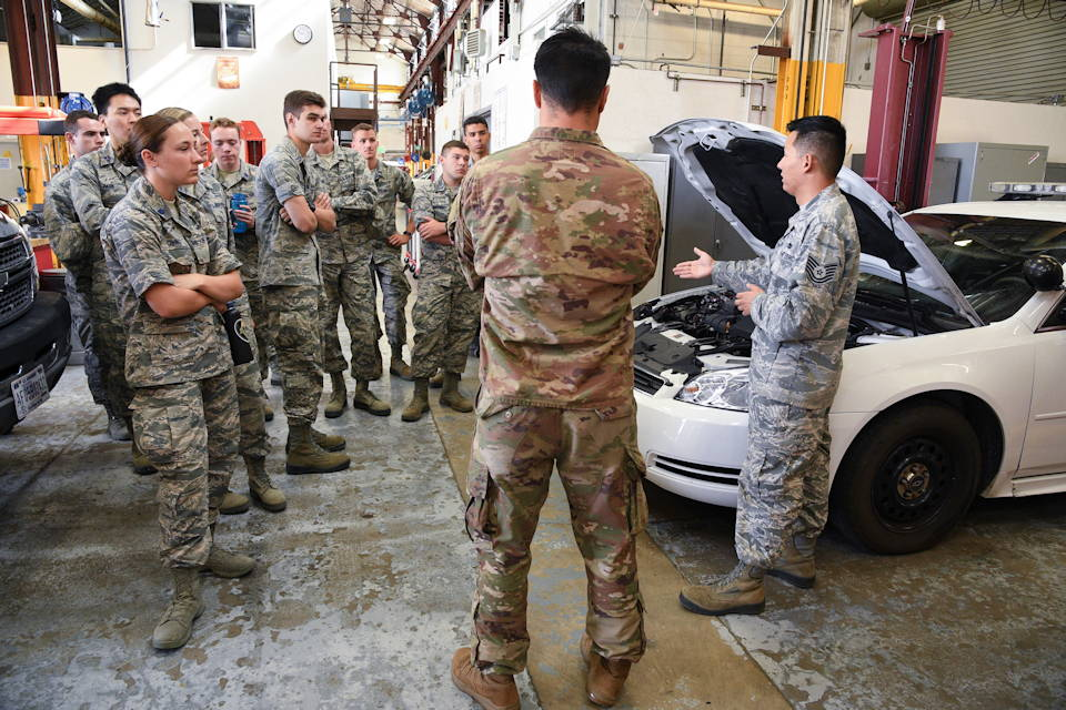 July 24, 2019 - Tech. Sgt. Benjamin Erwin, 75th Logistics Readiness Squadron vehicle maintenance flight, speaks to Air Force ROTC cadets during a tour of Hill Air Force Base, Utah. Over 80 cadets visited Hill as part of a professional development training program called Operation Air Force. The program gives cadets a greater understanding of the Air Force while introducing them to a variety of careers fields. (U.S. Air Force photo by R. Nial Bradshaw)