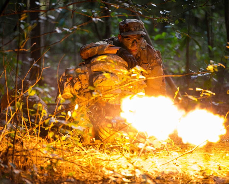 May 23, 2019 - U.S. Air Force Staff Sgts. Jose Obregon and Joseph Pace, Ranger Assessment Course students, fire on opposing forces during a simulated react to contact near Schofield Barracks, Oahu, Hawaii. (U.S. Air Force photo by Staff Sgt. Hailey Haux)