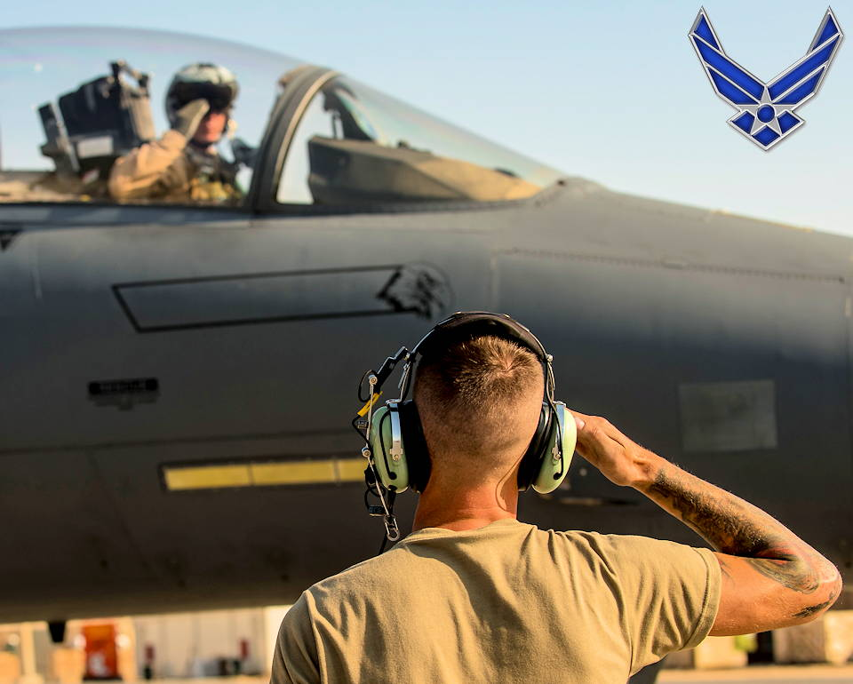 November 12, 2019 - Airman 1st Class Damon, 332d Air Expeditionary Wing crew chief, and pilot of a F-15E Strike Eagle salute each other before takeoff at an undisclosed location in Southwest Asia. The F-15E is an extremely maneuverable tactical fighter designed to allow the Air Force to establish air superiority over the battlefield. (Image created by USA Patriotism! from U.S. Air Force photo by Senior Master Sgt. Ralph Branson)