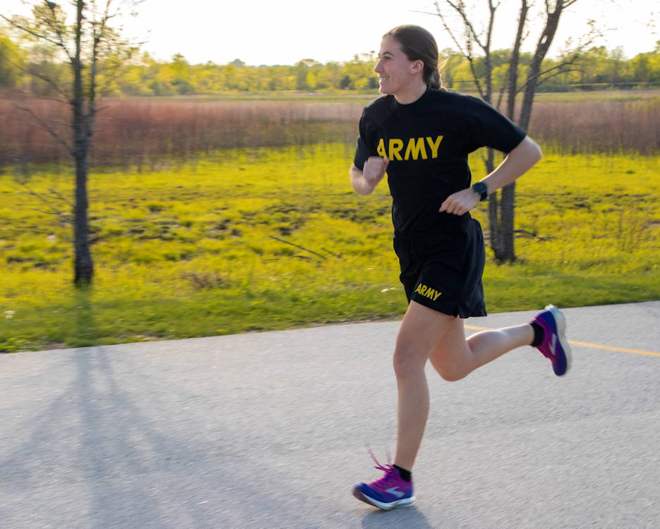 Sgt. Ayrin Hamner-Ripperger, the administration and supply non-commissioned officer for the 831st Engineer Company, Iowa Army National Guard (IANG), runs on the physical training track at Camp Dodge Joint Maneuver Training Center on May 13, 2019. In September 2018, Hamner-Ripperger decided to run a half marathon in every state. When she's not running half marathons, she often paces her Soldiers to help them improve their run times. (U.S. Army National Guard photo by Sgt. Tawny Schmit)