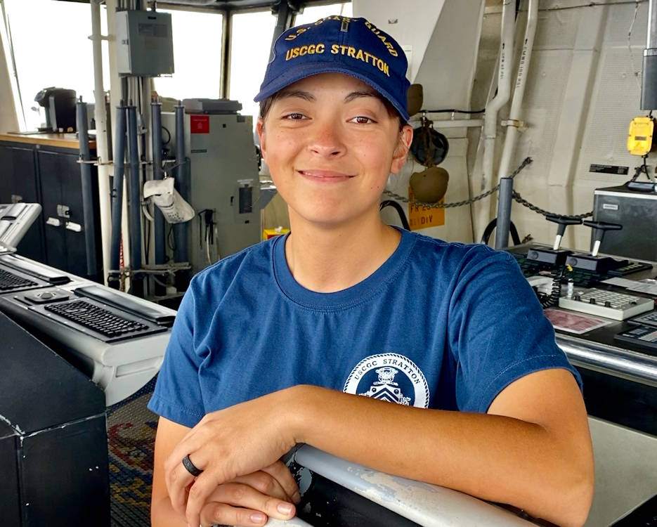 November 2, 2019 - Lt. j.g. Angela-Ruth Johnson is the assistant operations officer on USCGC Stratton (WMSL 752) and stands on the bridge of the ship. The cutter's crew has spent half of 2019 underway in support of joint operations in the Pacific. Johnson is not the first sailor in her family, nor the last. (U.S. Coast Guard photo by Chief Petty Officer Sara Muir)