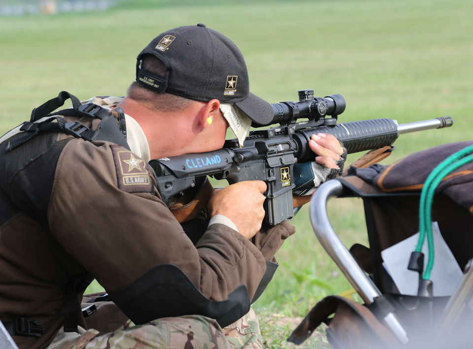 U.S. Army Sgt. Benjamin Cleland sights the target in the process of setting a new national record by shooting the first-ever, perfect score of 800 with a service rifle at the 2019 Charlie Smart Memorial Regional in Oak Ridge, Tennessee on June 2, 2019. (U.S. Army photo by Maj. Michelle Lunato)