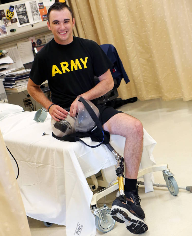 U.S. Army Spc. Ezra Maes undergoes physical rehabilitation at the Center for the Intrepid, Brooke Army Medical Center's cutting-edge rehabilitation center on Joint Base San Antonio-Fort Sam Houston on October 2, 2019. (U.S. Army photo by Corey Toye)