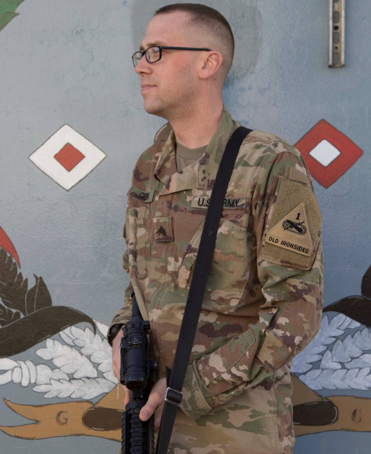 December 30, 2019 - Sgt. James Green, a native of El Paso, Texas, assigned to the 1st Armored Division Mobile Command Post Operational Detachment (1AD MCP-OD) stands outside his work location at Task Force-Southeast Headquarters in Southeastern Afghanistan. Green credits his service in the U.S. Army for helping him change his life around for the better. Green is currently deployed to Afghanistan as a member of the Headquarters and Headquarters Battalion, 1st Armored Division supporting Operation Freedom's Sentinel and Operation Resolute Support. (U.S. Army photo by Sgt. Karen Lawshae)