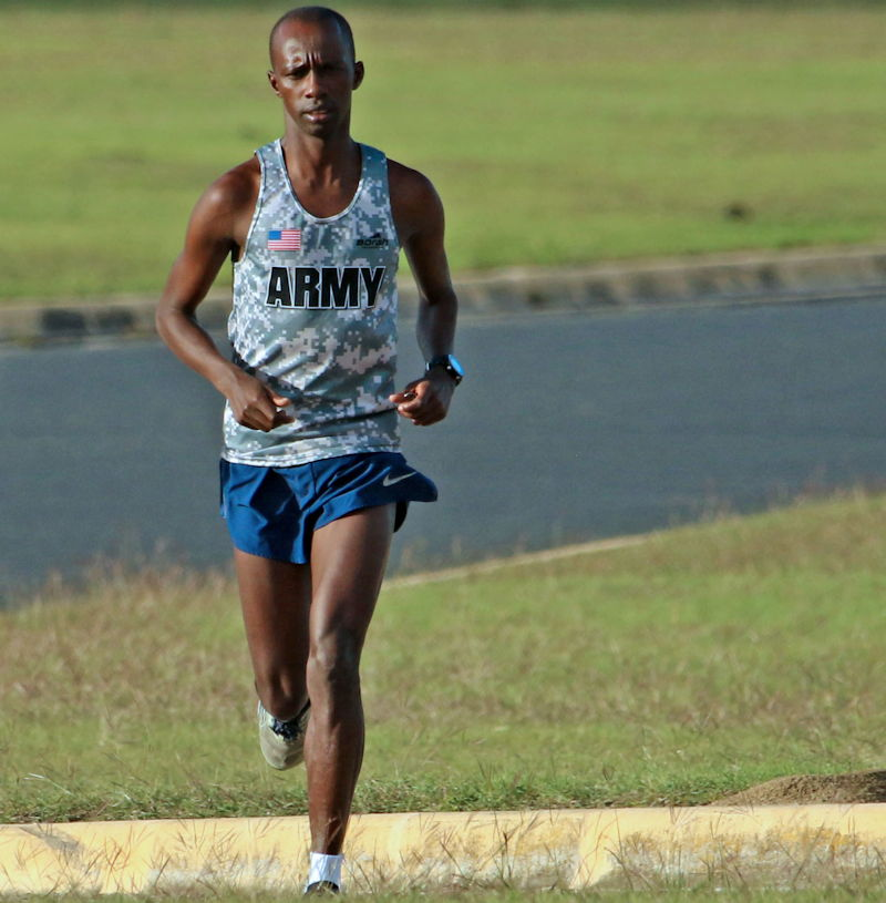 U.S. Army Sgt. Michael K. Biwott, a supply sergeant with 2nd Squadron, 3rd Cavalry Regiment, runs at Long Branch Park in Killeen, Texas, October 25, 2108. Biwott runs at least 60 miles a week while pursuing his American dream of running track or cross country in the U.S. Olympics. (U.S. Army photo by Staff Sgt. Taresha Hill)
