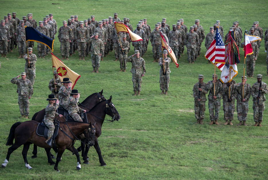 July 8, 2019 - Lt. Gen. Laura J. Richardson, incoming U.S. Army North commander, Col. Niave Knell, U.S. Army North Chief of Staff, and Lt. Gen. Jeffrey S. Buchanan, outgoing U.S. Army North commander, troop the line on caisson detachment horses during the U.S. Army North change of command ceremony at Joint Base San Antonio-Fort Sam Houston, Texas. Lt. Gen. Buchanan relinquished command to Lt. Gen Richardson. Buchanan assumed command of U.S. Army North Aug. 26, 2016 and is retiring after a 37-year career. Richardson most recently served at U.S. Army Forces Command at Fort Bragg, North Carolina, where she was the deputy commanding general. (U.S. Army North photo by U.S. Air Force Johnny Saldivar)