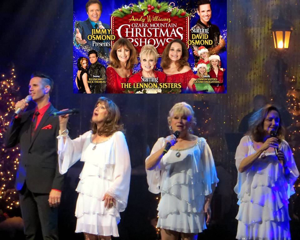 The Andy Williams Ozark Mountain Christmas Show at the Andy Williams Performing Arts Center is an entertaining must see in Branson, Missouri ... as the iconic Lennon Sisters, with talented singer David Osmond performing a Christmas song in the November 4,  2019 show during Branson's Veterans Week illustrates. (Image created by USA Patriotism! with inset photo provided by Andy Williams Performing Arts Center)