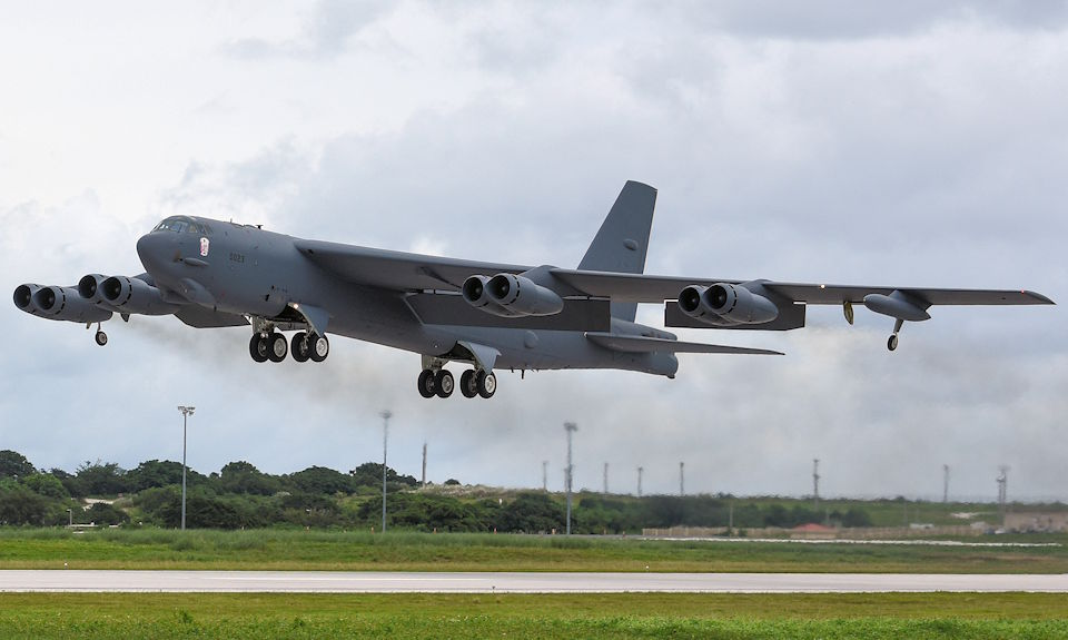 A 69th Expeditionary Bomb Squadron B-52 Stratofortress departs the flightline on Andersen Air Force Base, Guam October 22, 2019. B-52s have held a vital role in supporting the Continuous Bomber Presence mission in the Indo-Pacific region, which has been in operation since March 2004. Service members supporting the CBP sustains a flying mission that provides a capability of readiness and commitment to deterrence, provides assurances to our allies, and strengthens regional security and stability in the Indo-Pacific region. (U.S. Air Force photo by Airman 1st Class Michael S. Murphy)