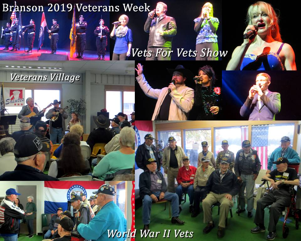 "Scenes of the Branson 2019 Veterans Week opening live ""Vets For Vets"" Show and Veterans Village by the nonprofit Branson Veterans Task Force. Both are free occurring annually and all about honoring military vererans. (Photos and Collage Image by USA Patriotism!)"