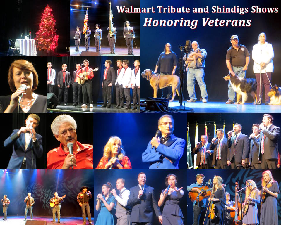 VeteransShow.com's is another veterans organization providing events honoring military veterans and active troops during the annual Branson Veterans week including its Shindigs Welcome Home and WALMART Tribute to the Veterans Shows in November 2019. (Photos and Collage Image by USA Patriotism!)