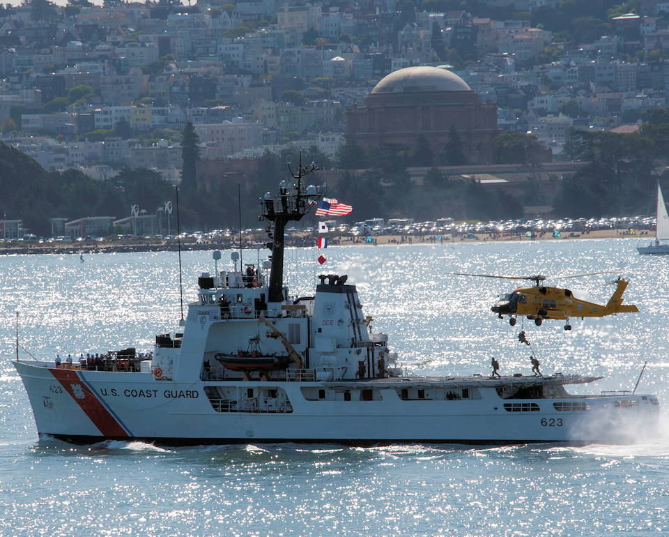 October 11, 2019 - Coast Guard members from Maritime Security Response Team West based out of San Diego, fast rope from a MH-60 Jayhawk helicopter onto the Coast Guard Cutter Steadfast for a tactical demonstration during San Francisco Fleet Week's Parade of Ships. (U.S. Coast Guard photo by Petty Officer 2nd Class Jordan Akiyama)