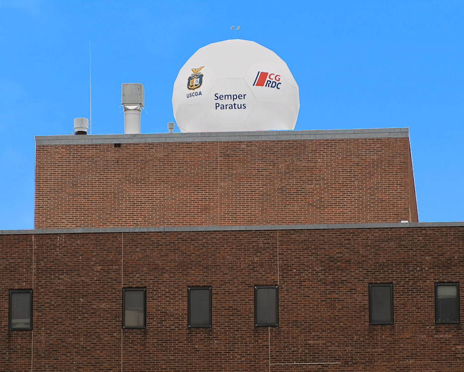 January 1 , 2019 - The satellite communications ground station sits on the roof of Smith Hall at the U.S. Coast Guard Academy in New London, Conn. The main feature inside the radome is a 3-meter diameter parabolic dish antenna and communications components that ensure proper signals are transmitted to and received from the satellite. (U.S. Coast Guard illustration by Petty Officer 2nd Class Lauren Laughlin)